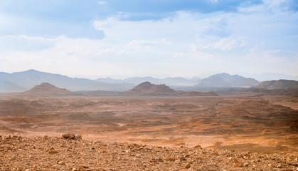 Foto auf Leinwand Durre Desert landscape background global warming concept