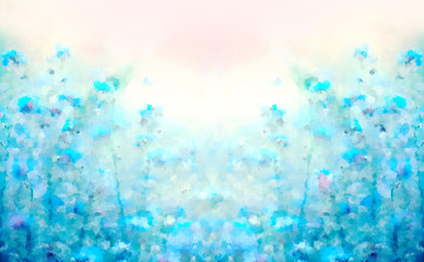 Spring Summer flowering bloom template background for wallpaper design card. Abstract scenic floral watercolor background in light blue tones gentle color.