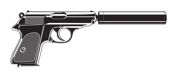Gun with silencer - Illustration