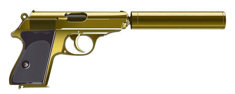 Gun with silencer - Illustration