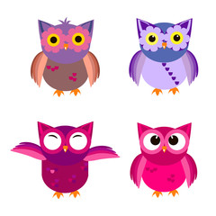 Cartoon owl set vector illustration.