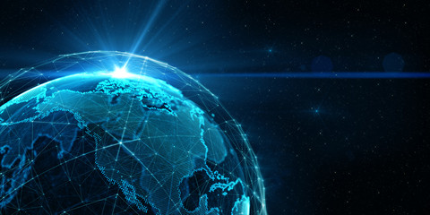 Global International Connectivity Background/Connection lines Around Earth Globe, Futuristic Technology  Theme Background with Light Effect Wall mural