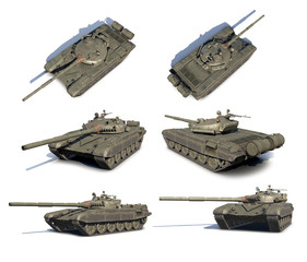 3D renders set of Russian main battle tank T-72
