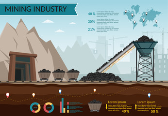 Coal mining industry and transportation set infographics elements isolated vector technics buildings