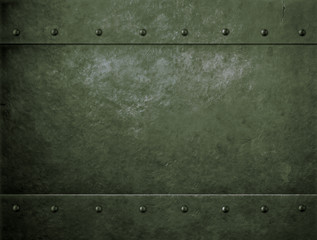 Wall Mural - old metal green military background with rivets