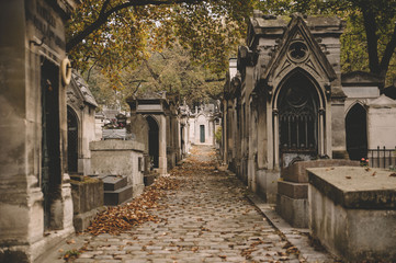 Old french cemetery tombs in autumn