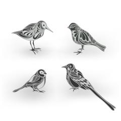 Ornamental birds vector illustration