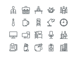Office. Set of outline vector icons. Includes such as Business Meeting, Workplace, Building, Stationery and other.