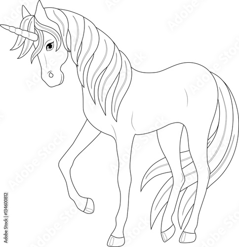"""cute fairy unicorn, coloring page"" Stock image and ..."