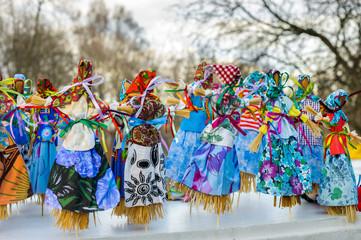 Maslenitsa dolls during spring holiday of Maslenitsa