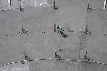 Worker on construction site, top view