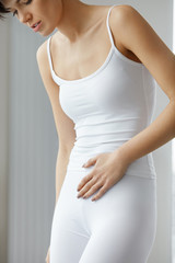 Stomach Health. Closeup Of Beautiful Female Body Feeling Pain