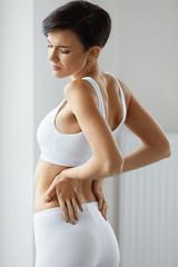 Pain. Beautiful Female Having Painful Feeling In Back, Backache
