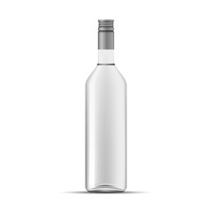 Glass Vodka bottle template, isolated on white