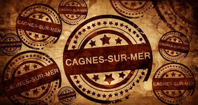 cagnes-sur-mer, vintage stamp on paper background
