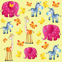 Fun zoo. Children's picture. Elephants, giraffes and zebras. Cartoon characters. Design for pattern, textiles, children's books, the background image.