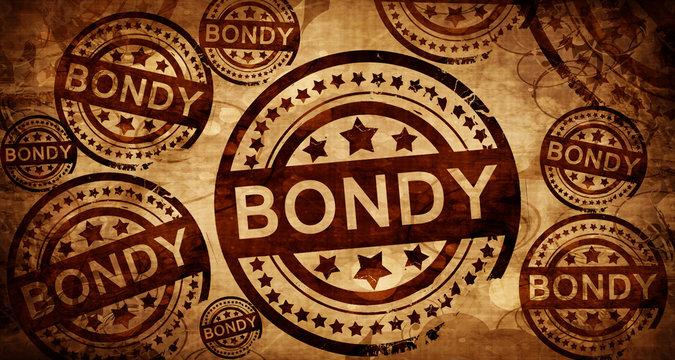 bondy, vintage stamp on paper background