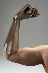 man with prosthetic arm, 3d rendering