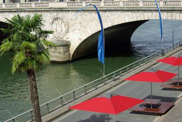 Arches du pont Napoléon sur la Seine à Paris, France