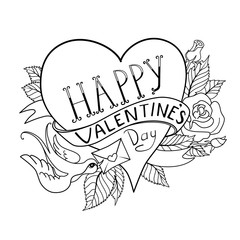 Vector Valentines Day greeting card with heart, made in classic old school tattoo style. Retro design. Black contour on white background, can be used for coloring book