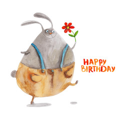 Rabbit in trousers with flower. Happy birthday. Hand drawing watercolor illustration