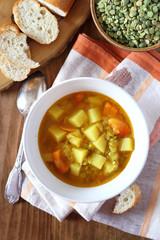 Homemade vegetable pea soup