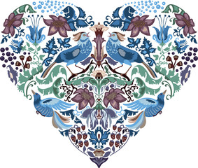 Heart pattern floral silhouettes