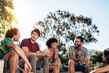 Group of friend hanging out on outdoor party