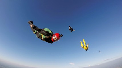 Skydiver in a quick dive