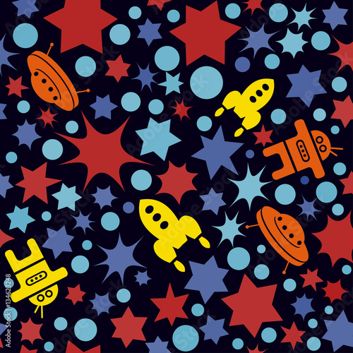 Vector seamless space pattern with star dots and rockets for Space pattern fabric