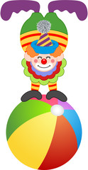 Clown on top of circus ball