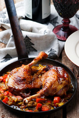 Braised Duck Legs with vegetables.