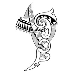 Vector illustration of Polynesian tattoo design drawing in black isolated on white background. Tribal, symbolic geometry, lines and triangles in contour style for Maori tattoo art.