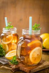 Iced tea in glass jars