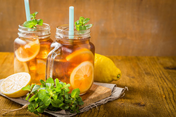 Iced tea in glass jars