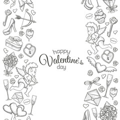 Monochrome sketch style seamless vertical borders with Valentine's Day icons. Illustration for Valentine's Day  greeting card and decoration. Vector.