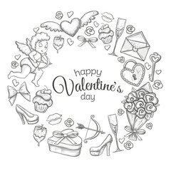 Round frame with Valentine's Day icons. Monochrome sketch style illustration for Valentine's Day greeting card and decoration. Vector.