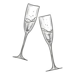 Monochrome sketch style illustration of two glasses of champagne on white background. Vector.