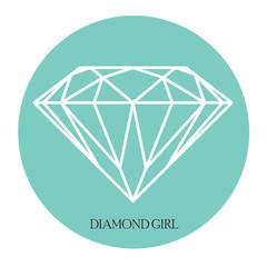 Arte stampabile, diamante sullo sfondo blu tiffany circolare
