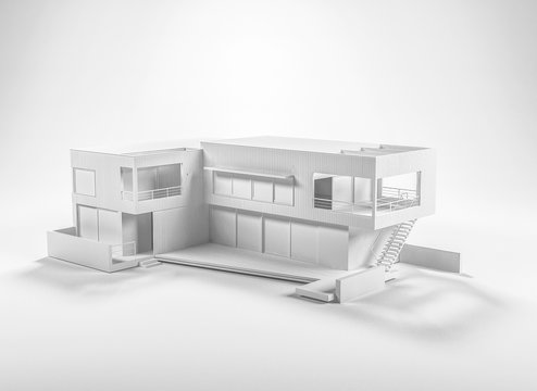 Piece of architecture white 3D model