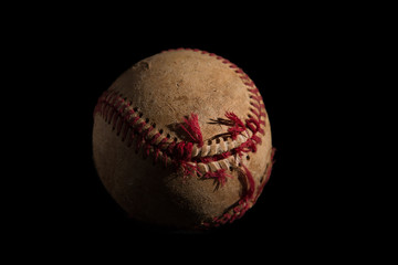A used baseball on a black background