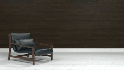 Leather lounge chair against wooden wall