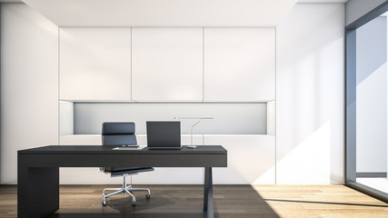 Modern working room with white cabinet / 3D Rendering