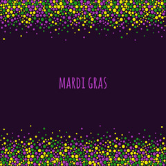 Mardi gras dotted pattern with space for text. Colorful dots of various size on the dark purple background. Vector abstract background EPS10.