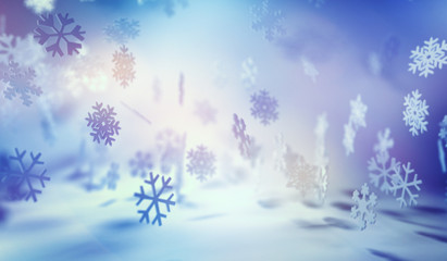 Snowflakes Falling in Soft Blue and White Lighting