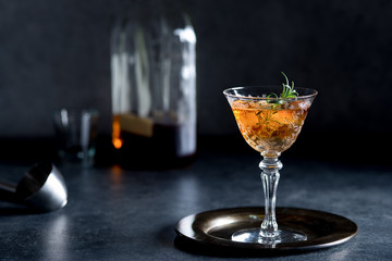 Old Fashioned Bourbon Cocktail with Rosemary