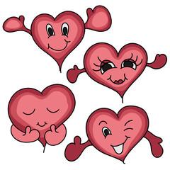 Cartoon happy hearts icon, vector