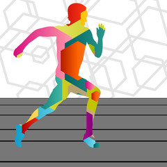 Active young men sport athletics hurdles barrier running silhoue