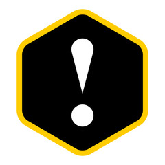 Black sexangle exclamation mark icon warning sign attention butt