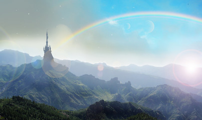 witches castle in oz with rainbow